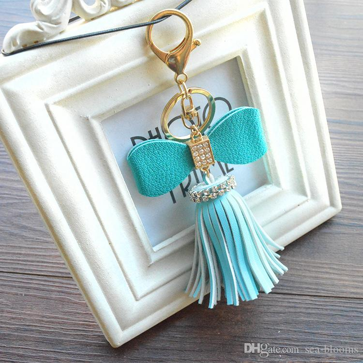 11 Styles Trendy Bowknot PU Leather Tassel Keychain Fashion Key Chains Ring Women Girl Bag Hanging Buckle Jewelry Accessories B775L