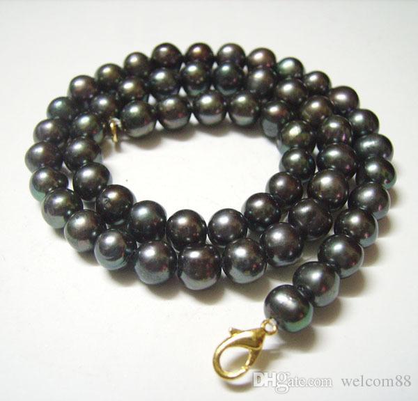 10 stks / partij zwart ronde zoetwater parel mode ketting kreeft sluiting 16 inch voor diy craft sieraden cadeau p5