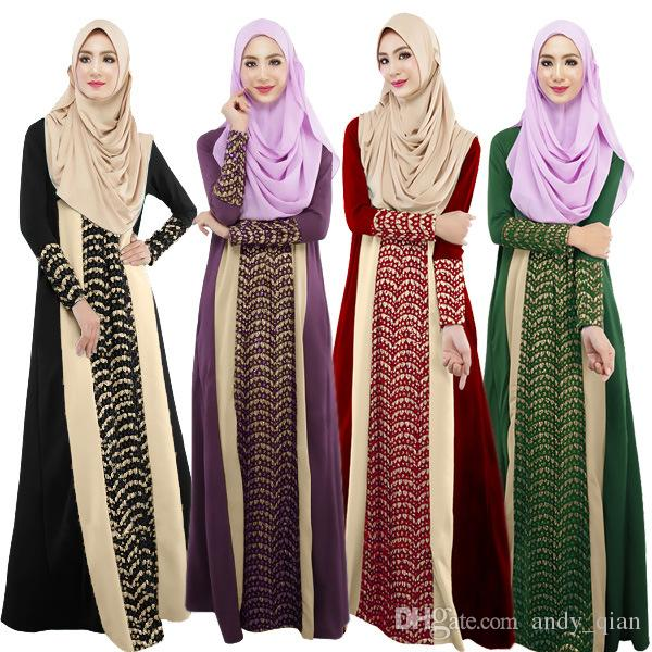 Compre 74 Patchwork Moda Del 020 Musulmán Vestido 30 Ropa Ramadan Festival Color Islam Mujeres Vestido Encaje A Islámico Vestidos Largo Étnica Sólido RxSqrRF