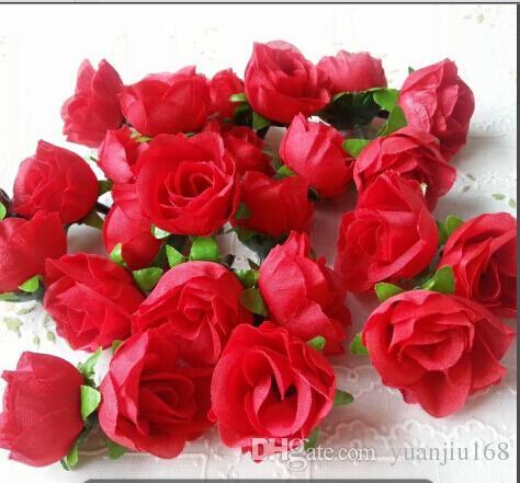 造花の頭ピンクの人工的なバラの芽のための結婚式の装飾クリスマスパーティーシルクの花