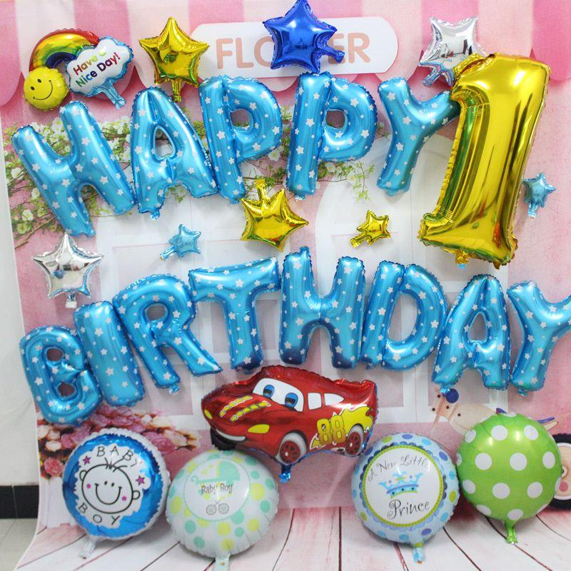 Red Car Foil Helium Balloons Blue Color Happy Birthday Balloon For Party Brithday Letter Alphabet Air In A From