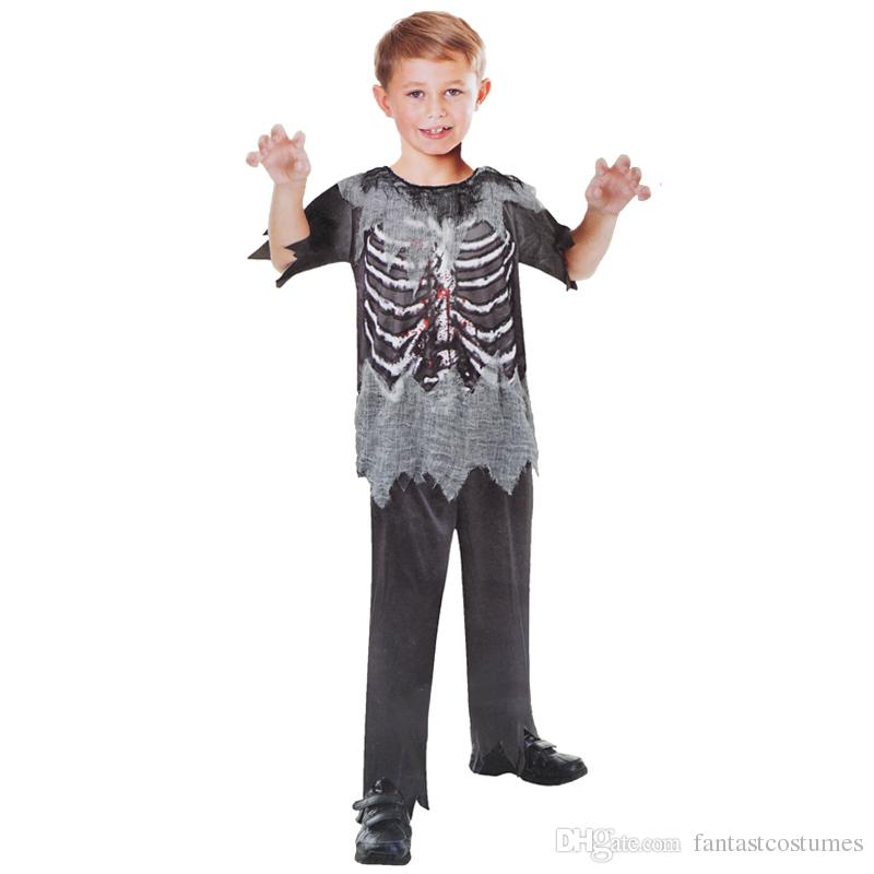 scary bloody horror skeleton halloween carnival holidays zombie skeleton cosplay costume for boys children kids top pants group halloween costume cute