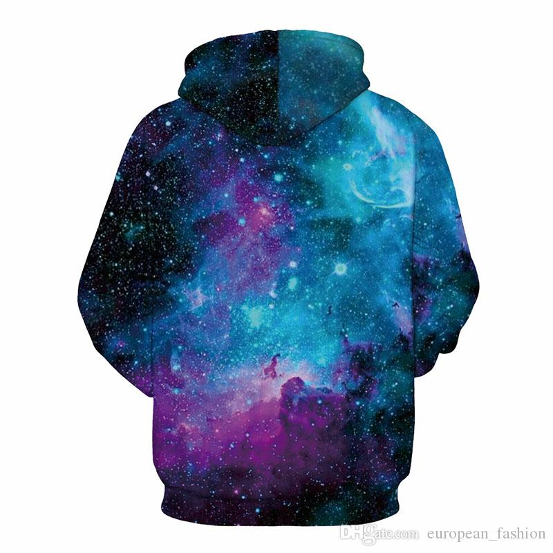 Новые модные 3D Hoodies для мужчин / женщин марки Print Black Hole Stars Space Galaxy hip hop hoodie sweatshirt Pullovers mens tops Plus Размер