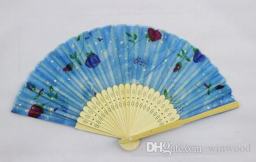 Folding Fans Flower Printing Hand Design Bamboo Folding Fans Festival Events Supplies Wedding Gifts Favors Arts Crafts