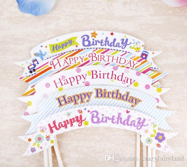 Happy Birthday Party Cake Toppers Insert Cards Decoration For Kids