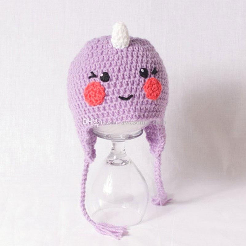 Novelty Adorable Purple Narwhal Hat,Handmade Knit Crochet Baby Boy Girl Animal Earflap Hat,Kids Funny Winter Cap,Infant Toddler Photo Prop