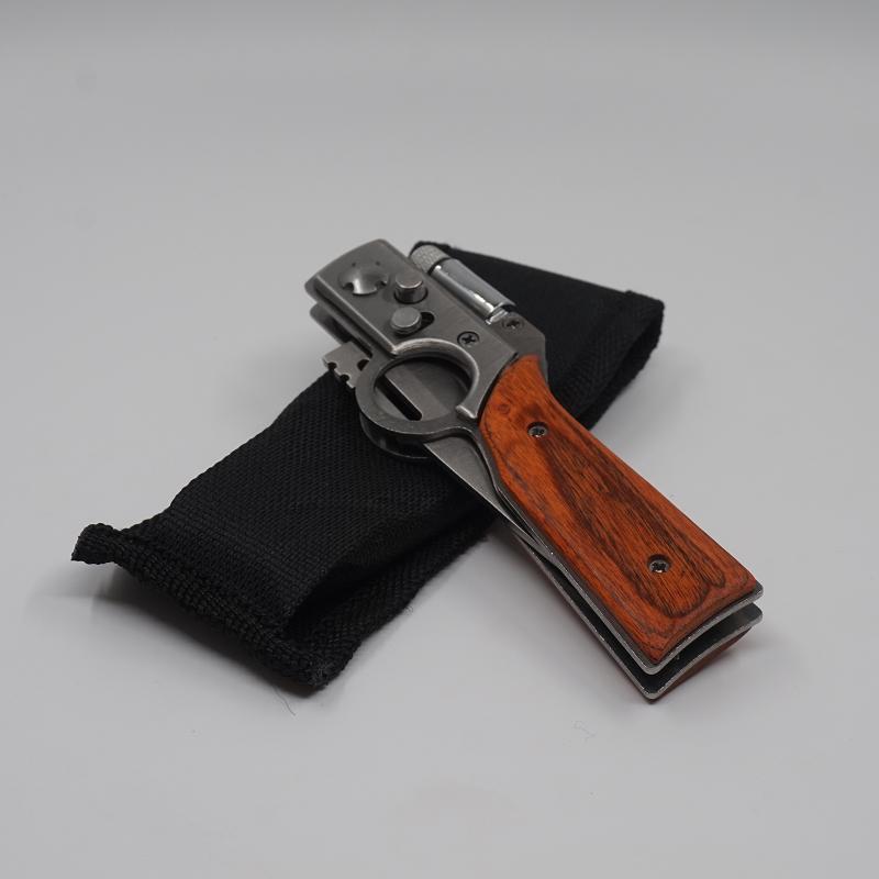 AK47 Gun Şekilli Avcılık Bıçak 440 Çelik Bıçak Gülağacı Sap Taktik Katlanır Bıçaklar Kamp İşlevli Survival Bıçak EDC Aracı