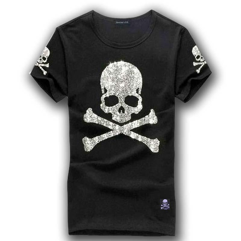 MMJ Mastermind Japan Shining Diamond Rhinestone Skull O Neck Short Sleeve  Cotton T Shirt Tee White And Black Color 10 T Shirt Awesome T Shirts Online  From ... 6de41c0d4c8c