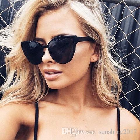 Moda Kedi Göz Güneş Kadınlar Avustralya Marka Tasarımcısı Lady Gül Altın Ayna Güneş Gözlükleri kalın çerçeve lunette de soleil femme lunettes