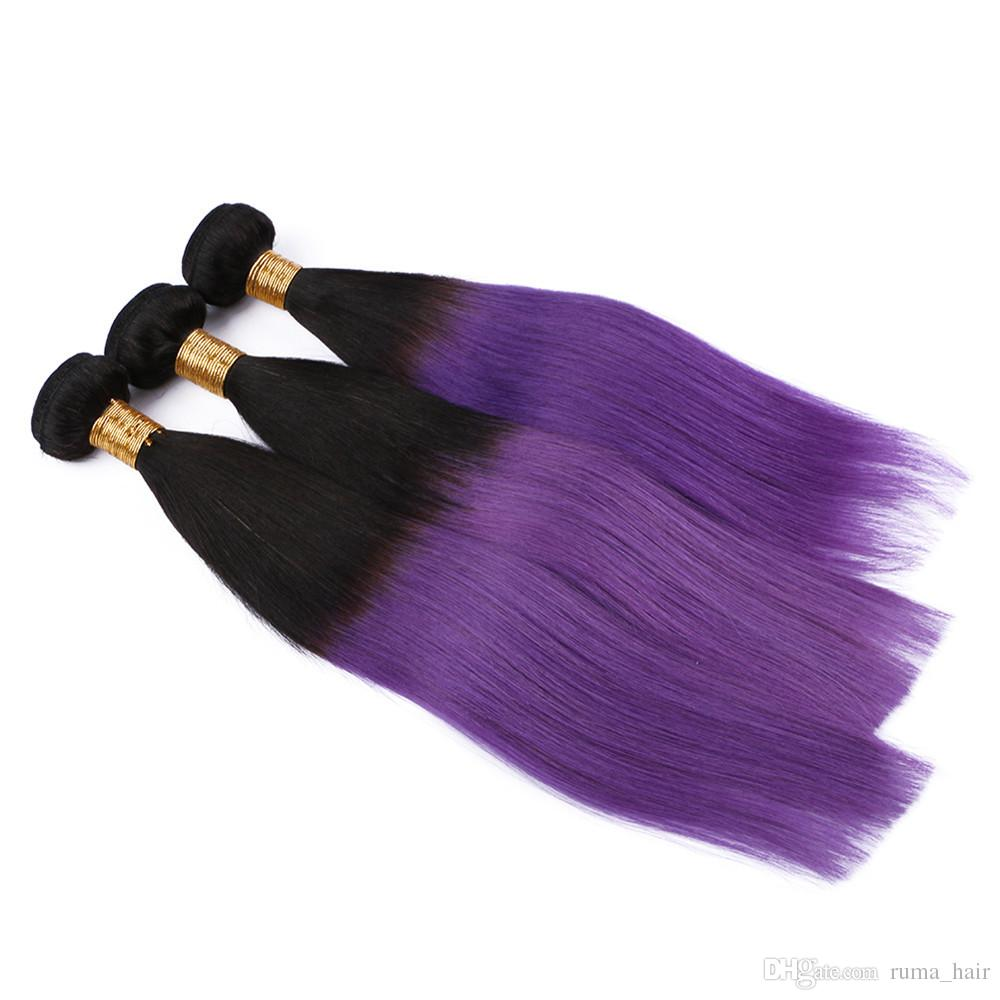 Dark root colored ombre two tone straight hair extension 1b purple color cosplay hair extension Purple hair bundles