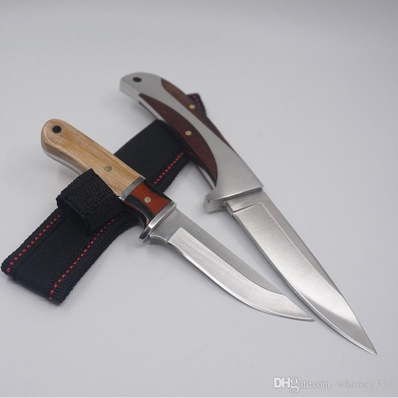 Fixed Blade Hunting Knife Straight Tactical Combat Knife 440 Blades Wooden Handle Survival Knives 57HRC Sharp Outdoor Camping EDC Tool