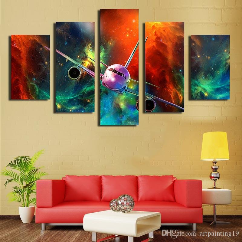 2018 Decorative Art Ink Painting On Canvas The Plane Flew In The Sky ...