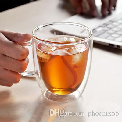 Clear Glass Coffee Mugs Double Wall Glass Coffee Milk Cup Insulated