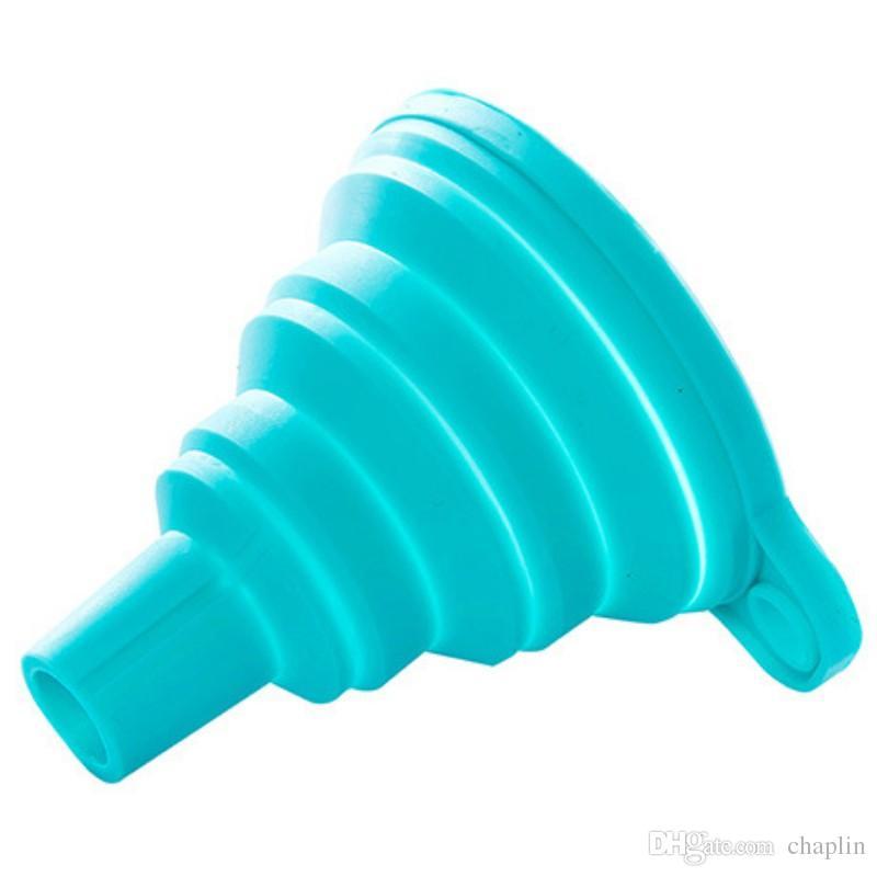 シリコーン折りたたみ式漏斗、液体トランスファー100%食品用シリコーンシリコーン小型漏斗3色のためのシリコーンの折りたたみ式/キッチン漏斗