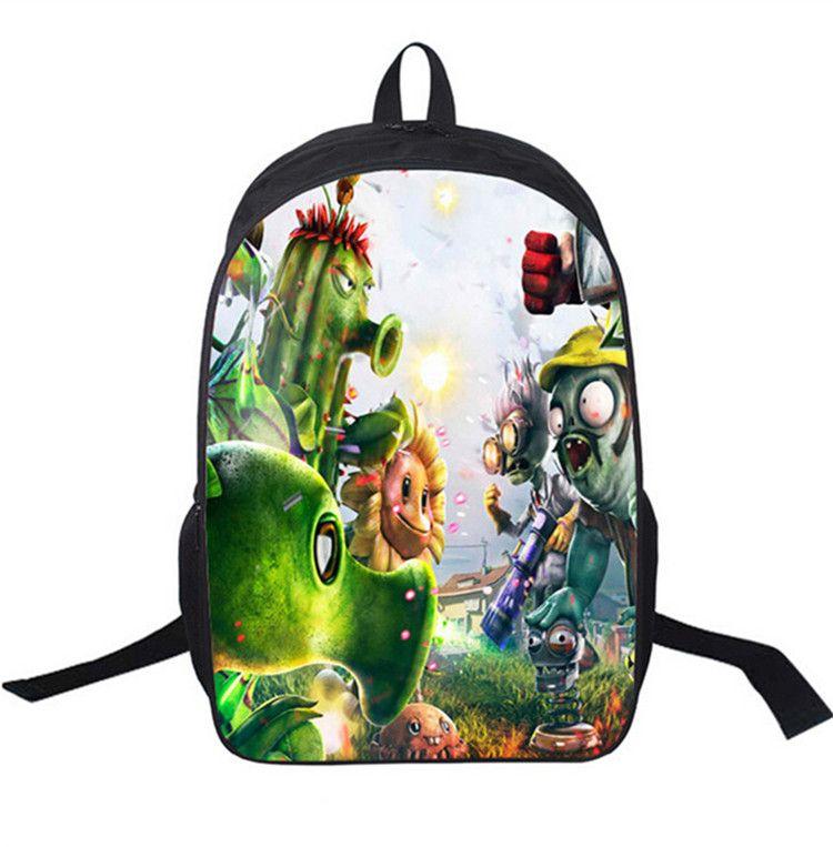16 인치 3D 인쇄 식물 대 좀비 만화 배낭 학교 가방 야외 스포츠 착용 배낭 지퍼 가방