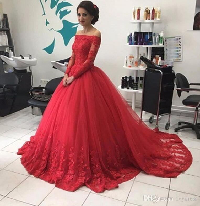 Unique Red Long Sleeve Quinceanera Ball Gown Prom Dress Elegant Boat ...