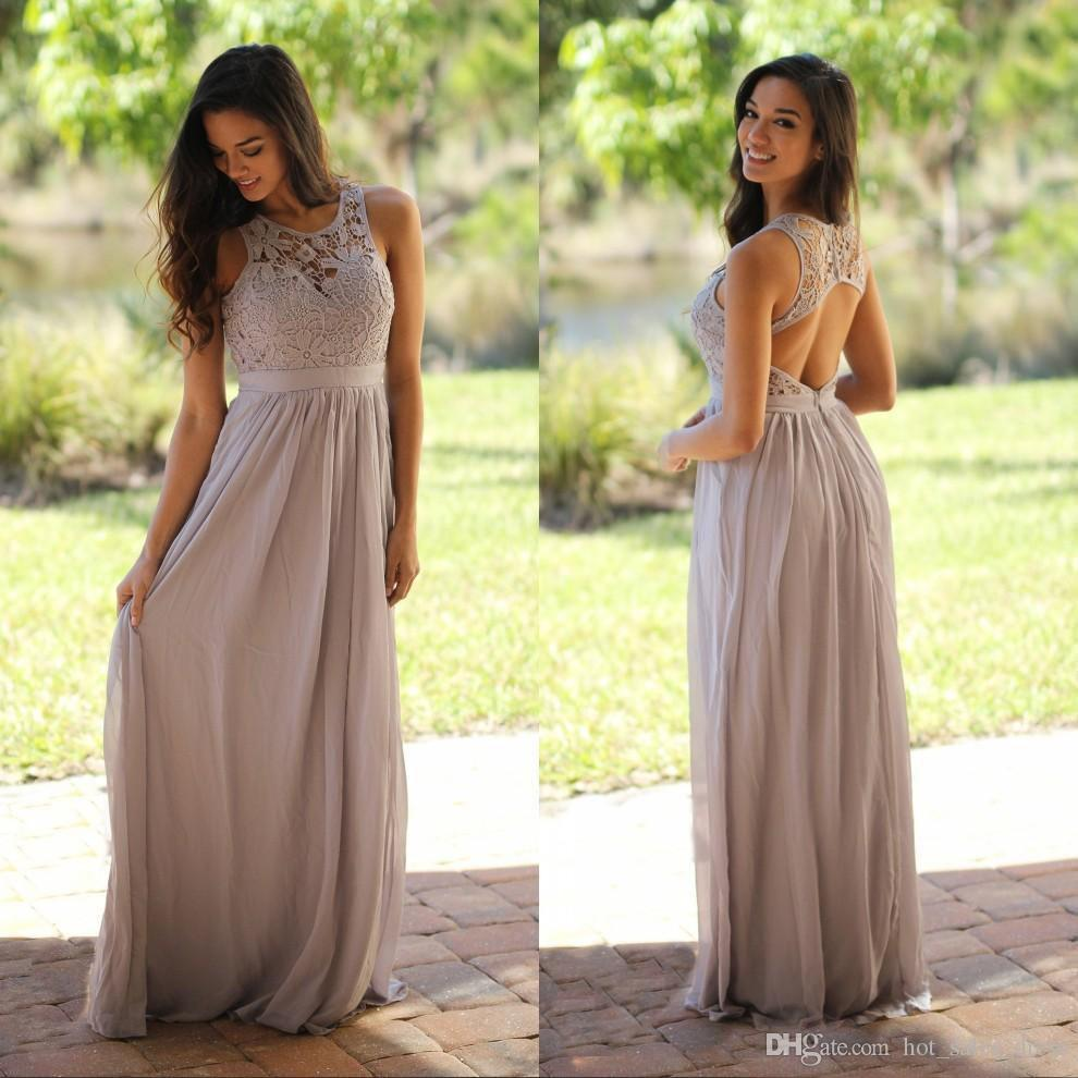 Grey lace chiffon country bridesmaid dresses for wedding 2017 modest grey lace chiffon country bridesmaid dresses for wedding 2017 modest keyhole back sexy long wedding guest dress prom party gowns lemon bridesmaid dresses ombrellifo Images
