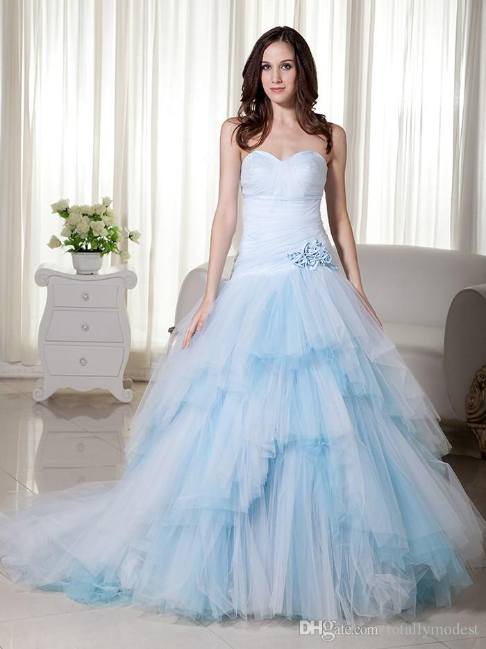 2017 New Ball Gown Light Blue Colorful Wedding Dresses Sweetheart Dropped Waist Long Tulle Non White Bridal Gowns Vintage Colorful