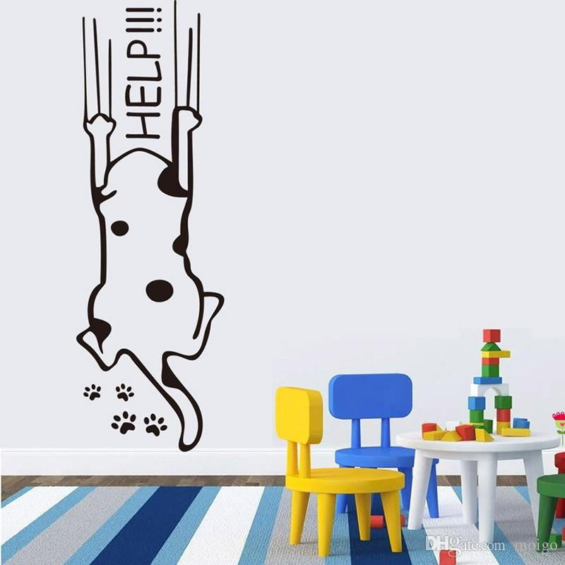 Refrigerator Fridge Wall stickers cartoon child kitchen cabinet furniture glass decals House decoration help cat quotes