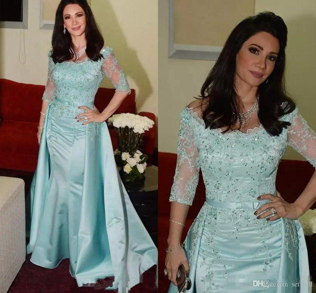 Compre Elegante Verde Menta Sirena Madre De La Novia Vestidos De ...