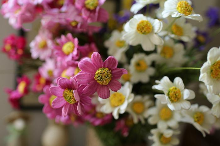Commercio all'ingrosso 50 pz / lotto PE Real Touch artificiale Chamomile Bouquet di fiori con 5 Supporti i la Casa Giardino Decorazioni di Nozze Spedizione Gratuita