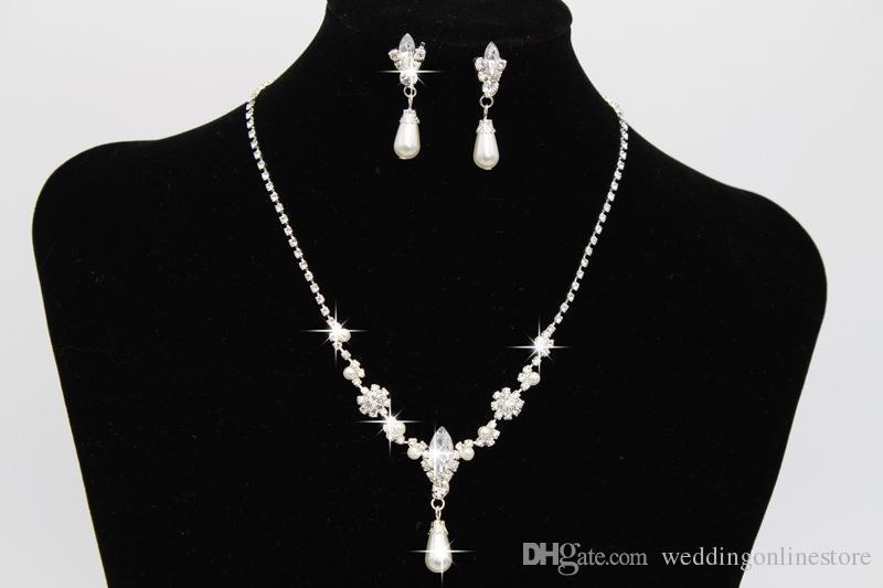 c29c35b23224 Rhinestone Perla Joyería Nupcial Conjunto Declaración Pendientes de Cristal  Collares Conjuntos de perlas Damas de honor Mujeres Mujeres Fiesta de Baile  ...