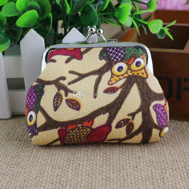 새로운 빈티지 레트로 캔버스 지갑 지갑 카드 케이스 짧은 핸드백 올빼미 지갑 코인 가방 6 색상