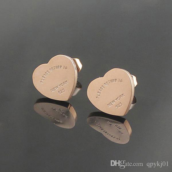 Famosa marca de aço titanium 316l brinco de luxo coração forma marca charme amor brincos moda jóias atacado