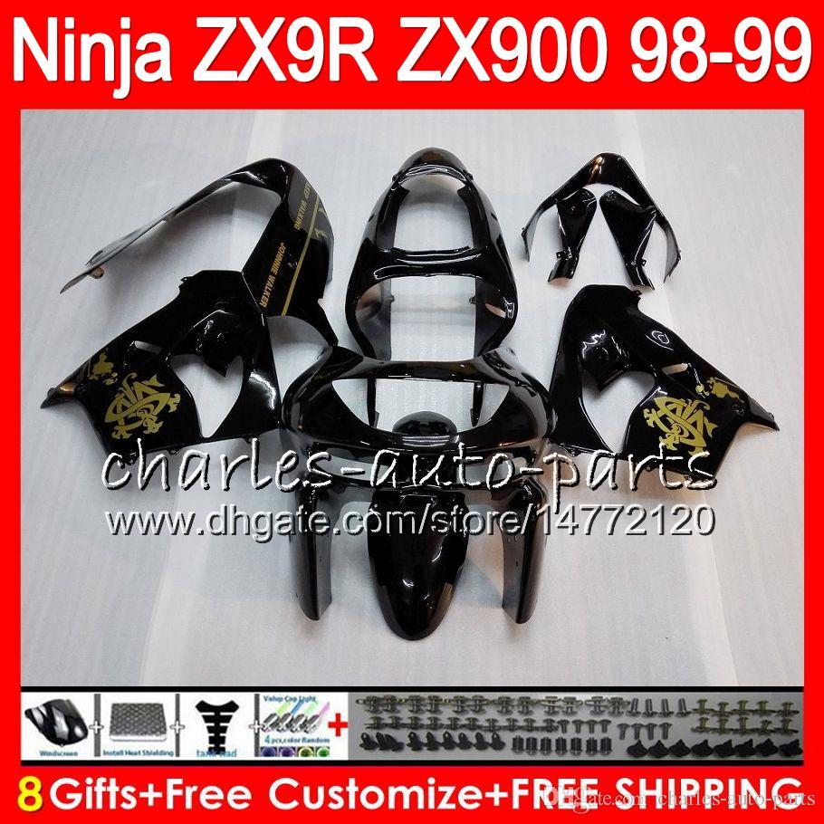 8Gifts Pour KAWASAKI NINJA ZX 9 R ZX9R 98 99 00 01 900CC Golden noir 48HM1 ZX 9R ZX900 ZX900C ZX-9R 1998 1999 2000 2001 Kit de carénage