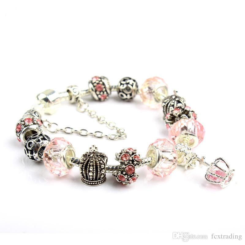 18 19 20 21CM Charm Armband 925 silberne Armbänder für Frauen Royal Crown Armband Lila Kristall-Korn Diy Schmuck Weihnachtsgeschenk