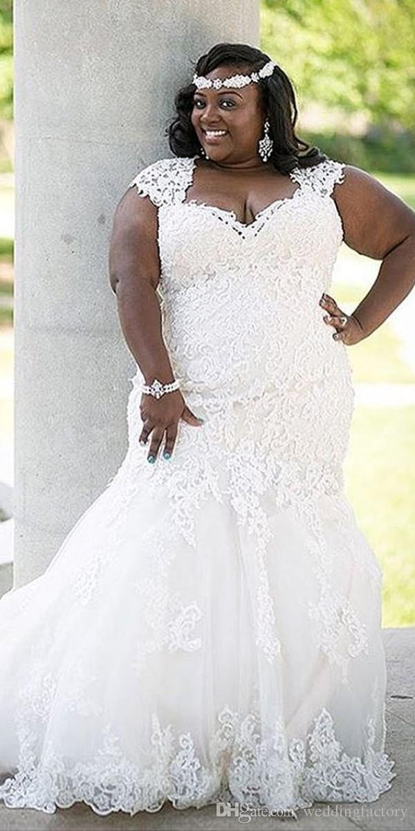 Великолепное летнее кружевное свадебное платье большого размера в стиле кантри Элегантное свадебное платье с русалкой Аппликации Тюль Платье для пышных невест