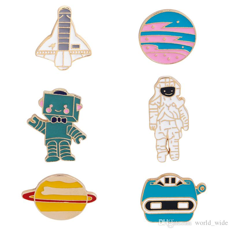Spilla in metallo smaltato Spilla Galaxy Space esterno Planet Mars Astronauta Robot Fashion Clothes Bag Jacket Badge