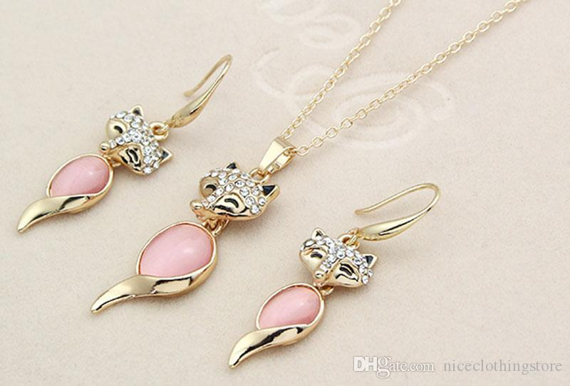Crystal Opal Fox Necklace Earrings Jewelry Sets Gold Chain Animal Type Necklace for Women Fashion Jewelry Gift