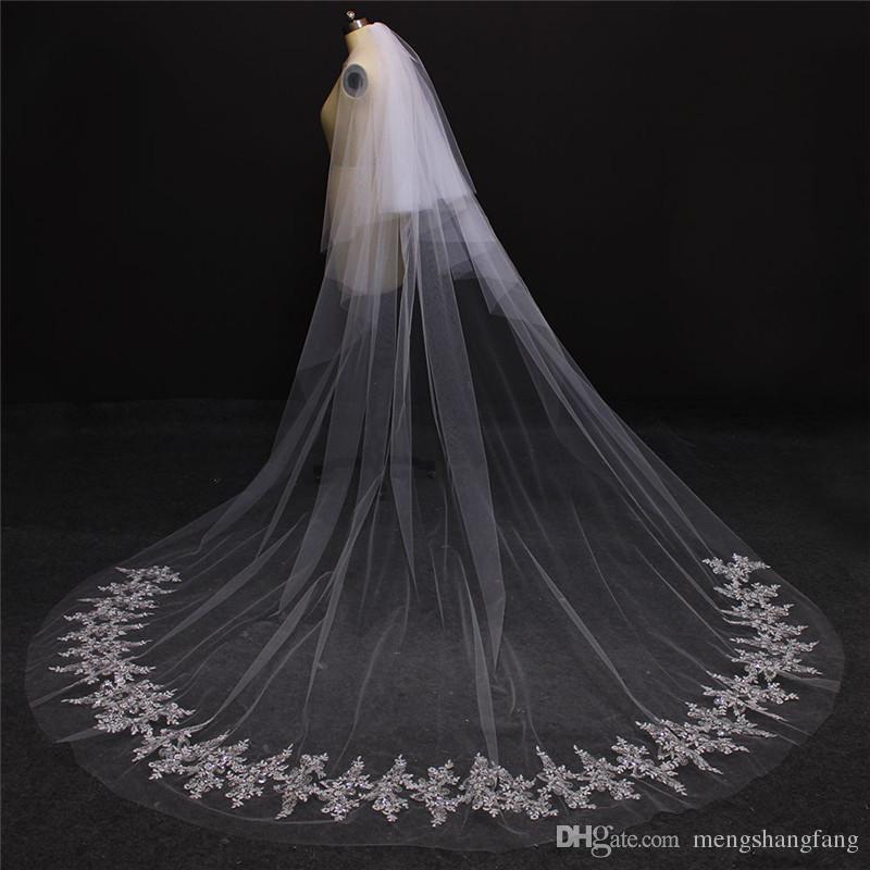 Real Fotos 2 Camadas de Bling Lantejoulas Rendas Tule Romatic Véu Do Casamento Branco Marfim Catedral Do Laço De Noiva Véu NV7079