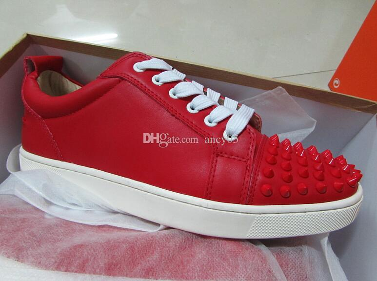 10ab357e85c7 Low Top Spikes Toe Men Women Red Bottom Shoes Designer Genuine ...