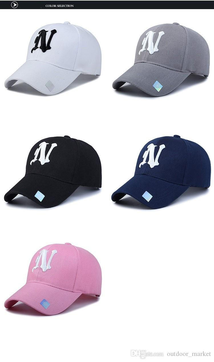2e535f8f148 Baseball Cap Solid Color Leisure Hats with N Letter Embroidered Cap for Men  And Women Online with  9.72 Piece on Outdoor market s Store