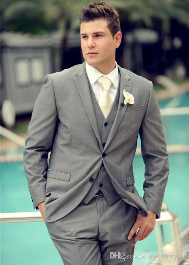 Elegant Men Suits 2017 Dark Grey Tuxedos for Grooms Handmade ...