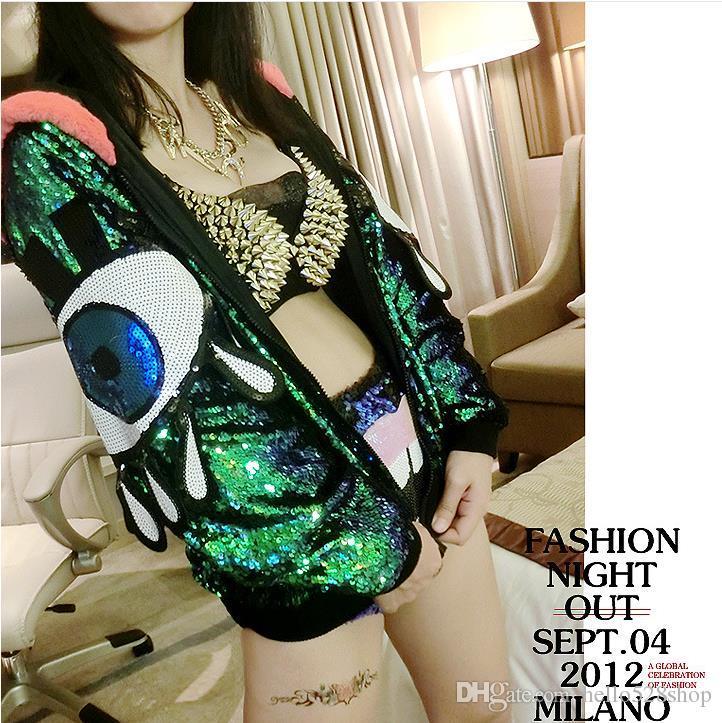 Nightclub Fashion Jackets Women Coat Singer Dance Sequins Ladeis Outerwear Performance Costume