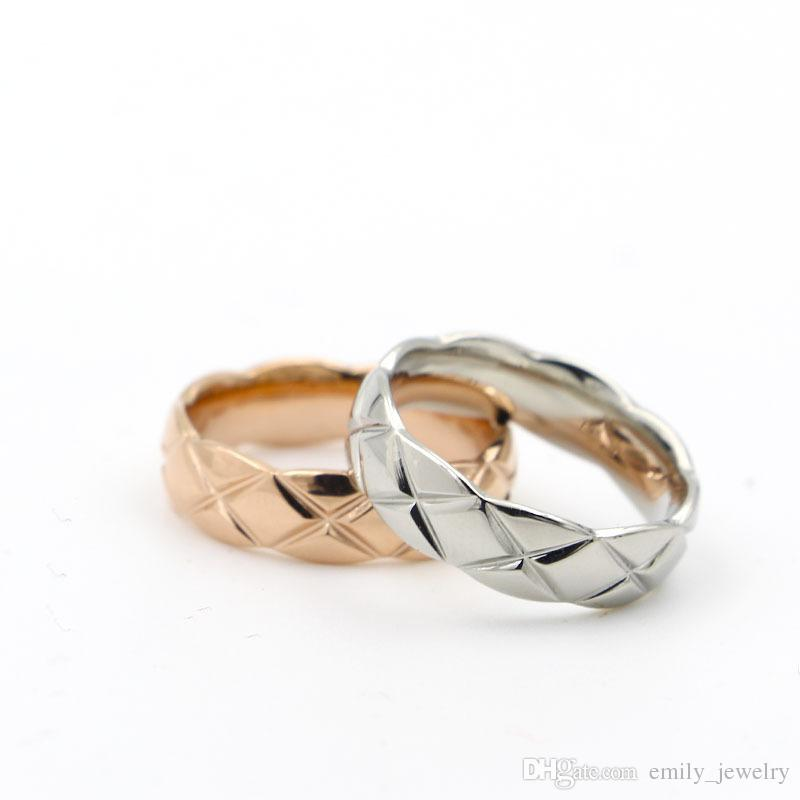 5.7mm 316L Stainless Steel fashion Cross rings cut mesh Jewelry for woman man lover rings 18K Gold-color and rose Jewelry Bijoux no logo