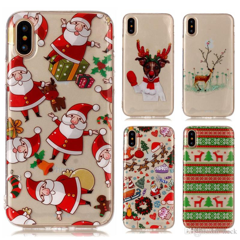 merry christmas gift celebration santa claus deer tree for iphone x 8 7 6 6s plus 5s 5c se ipod touch 5 6 soft tpu silicone phone case cover for iphone x