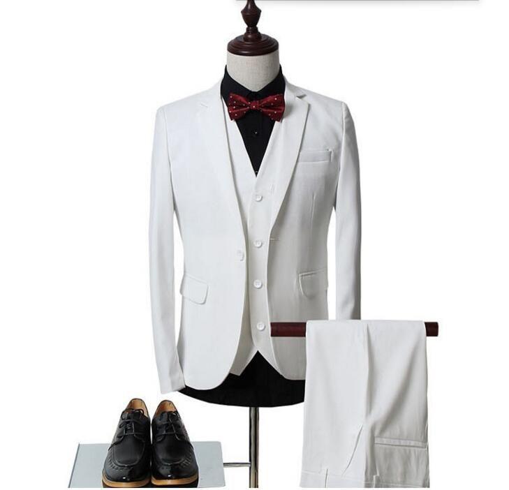 Ismarlama erkek takım elbise erkek beyaz sağdıç düğün takım elbise slim fit iş erkek resmi giyim takım elbise ceket + yelek + pantolon