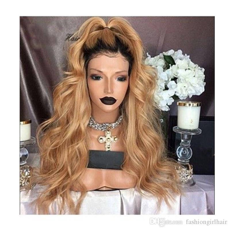 Stock fast shipping Glueless Natural White Blonde Ombre Synthetic Lace Front Wig Synthetic Heat Resistant Long Wavy Wigs For Women