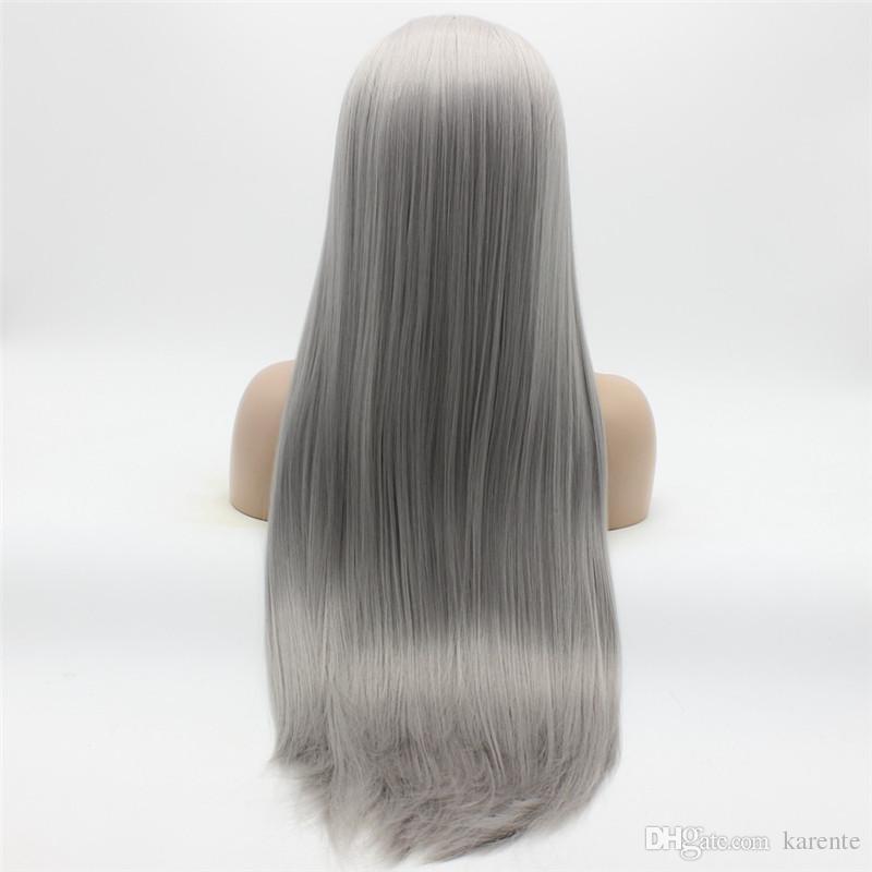 Perruque grise 22 # 0906 de demi-main attachée à la main de cheveux synthétiques résistant à la chaleur avec Iwona Hair Straight