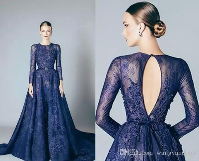2017 a line lace applique evening dress with slim belt elegant navy