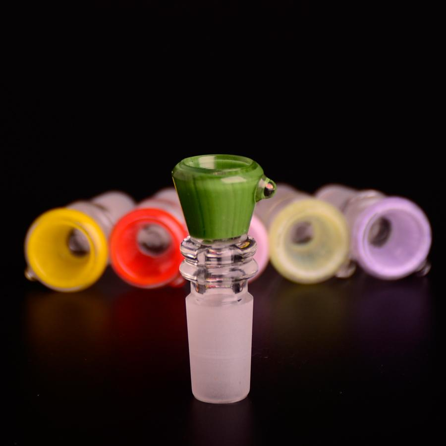 COLOR PERFECTO Rojo Amarillo Verde Rosa Verde claro Púrpura Vaso de vidrio de 14 mm para Bong Tubería de agua Bongs Tuberías FUMADORES Accesorios Tazones