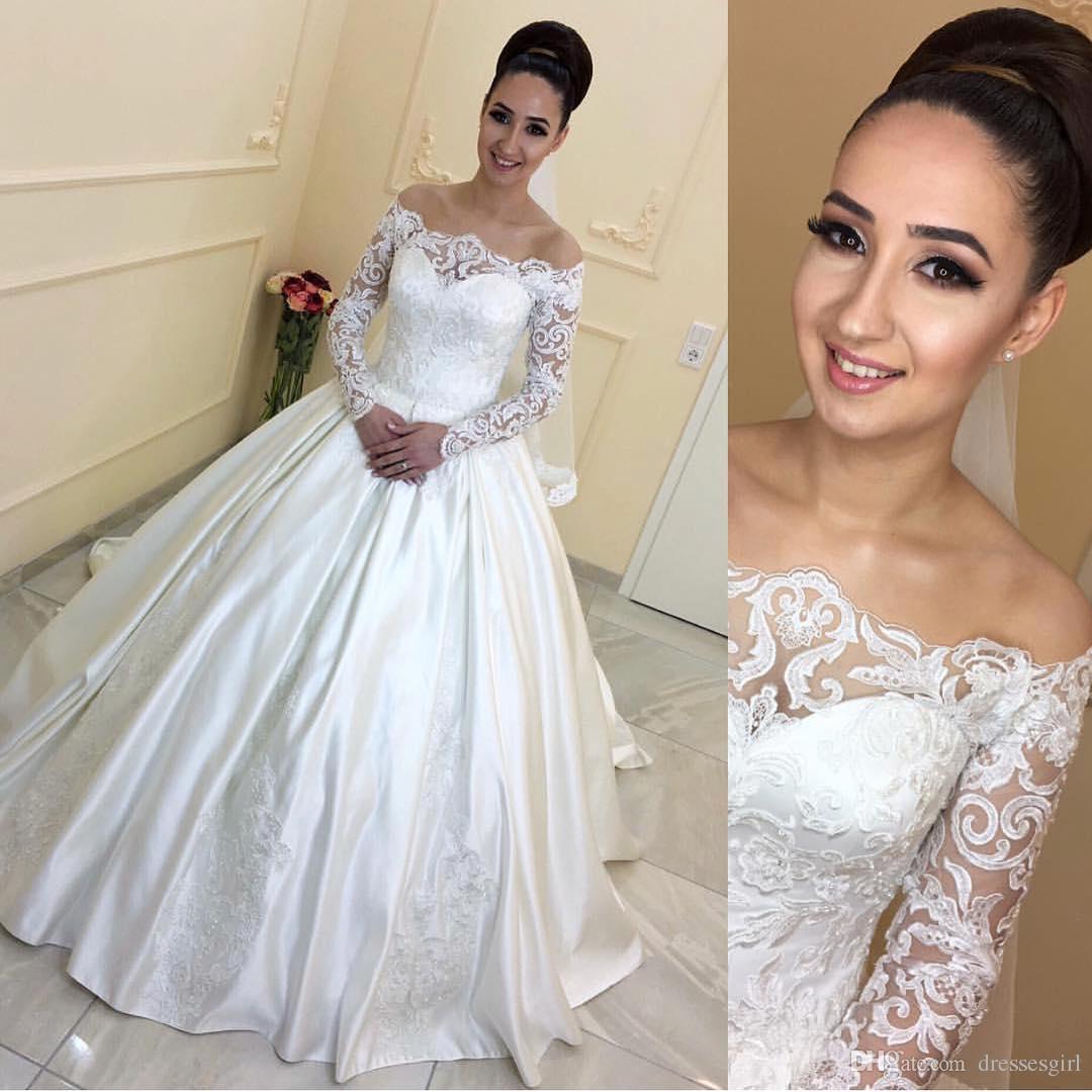 Yeni Sping Varış Beyaz Şapel Gelinlik vestido de festa Kapalı Omuz Balo Dantel See-Through Uzun Kollu Gelin törenlerinde