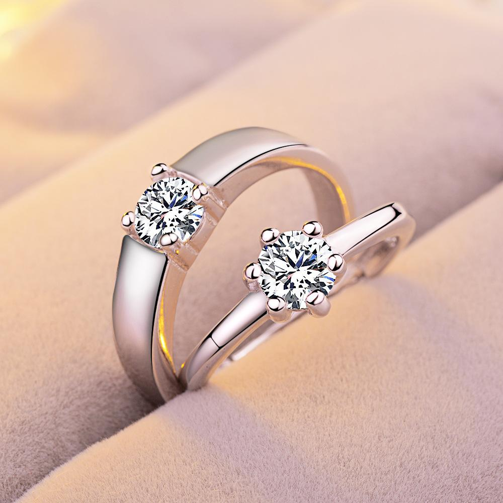 2018 a couple of heart shaped ring lovers s925 zircon affordable 2018 a couple of heart shaped ring lovers s925 zircon affordable unisex six claw jewelry adjustable wedding rings from kenni233 616 dhgate junglespirit Choice Image