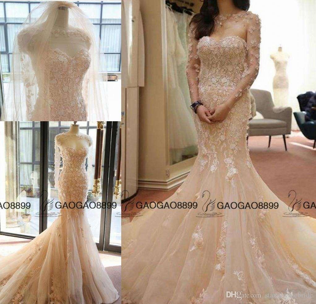 2017 Elegant Blush Champagne Mermaid Wedding Dresses With Long