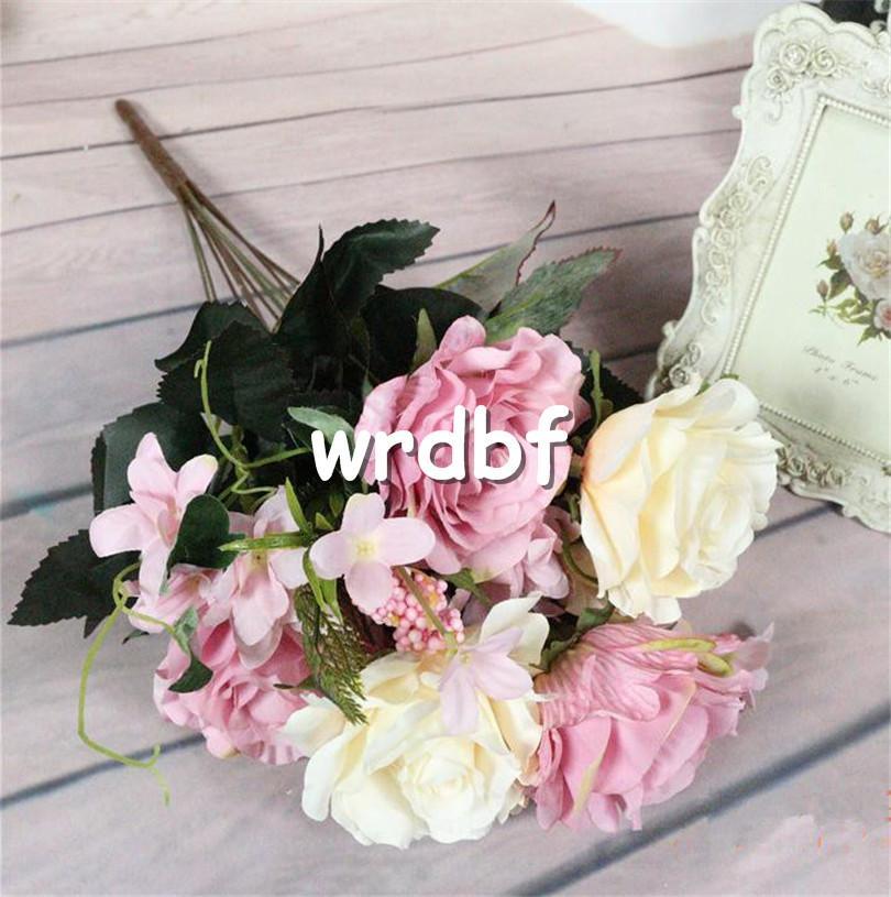 "European Silk Rose Bunch 11 stems/piece 50cm/19.69"" Length Artificial Roses wite Hydrangea Petal Foam Fruit for Home Decor"