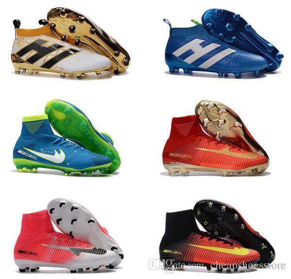 2a3fd4eac3145 Compre 2017 Botas De Fútbol Para Hombre Neymar JR Barato Magista Obra 2  Mercurial Superfly CR7 FG Botines De Fútbol Zapatos De Fútbol Superiores  Altos ...